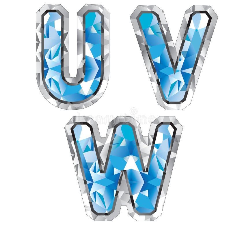 Lettera U V W della gemma illustrazione vettoriale