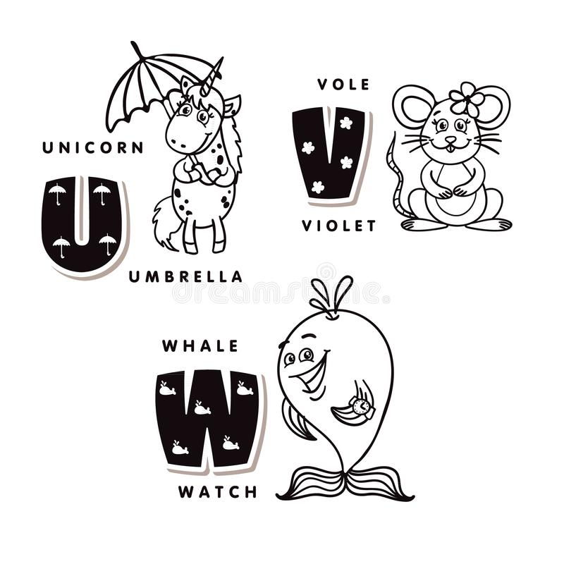 Lettera U V W di alfabeto che descrive un unicorno, un voto e una balena Alfabeto di vettore illustrazione di stock
