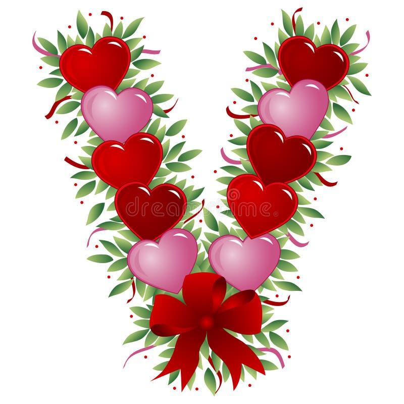 Lettera V - Lettera del biglietto di S. Valentino royalty illustrazione gratis