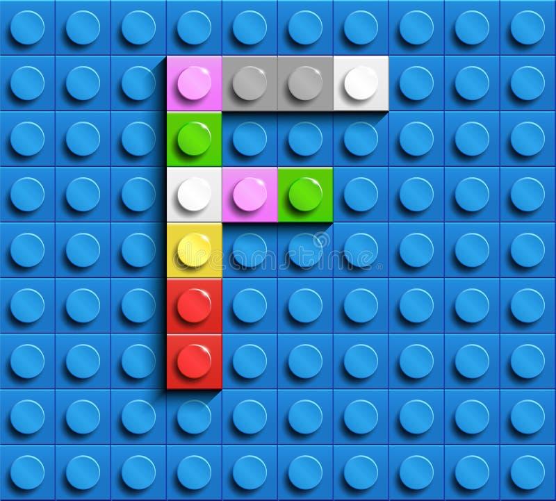 Lettera variopinta F dai mattoni di lego della costruzione sul fondo blu di lego Lettera m. di Lego illustrazione vettoriale