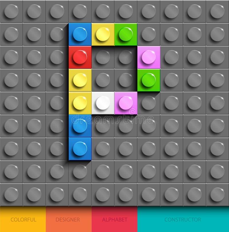Lettera variopinta P dai mattoni di lego della costruzione sul fondo grigio di lego Lettera m. di Lego royalty illustrazione gratis