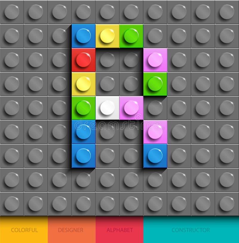 Lettera variopinta R dai mattoni di lego della costruzione sul fondo grigio di lego Lettera m. di Lego illustrazione di stock