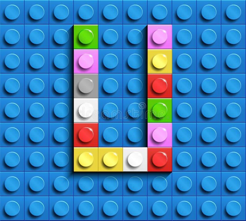 Lettera variopinta U dai mattoni di lego della costruzione sul fondo blu di lego Lettera m. di Lego illustrazione di stock