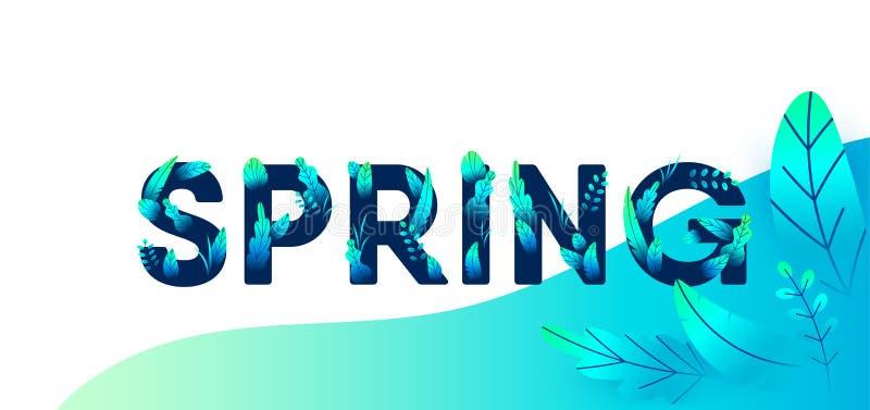 Lettera verde blu della primavera con il fondo di vettore delle foglie Illustrazione floreale di progettazione grafica di primave illustrazione di stock