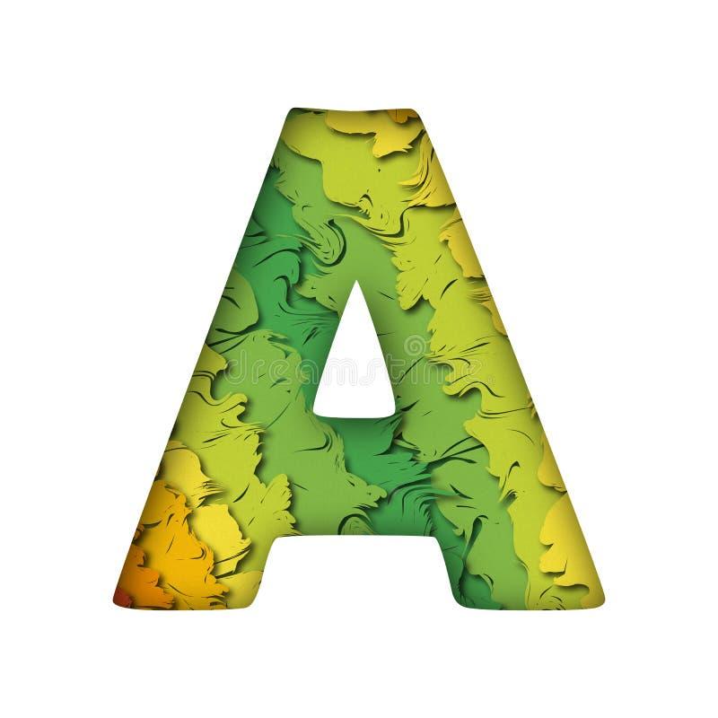 Lettera verde d'avanguardia A del papercut immagine stock libera da diritti