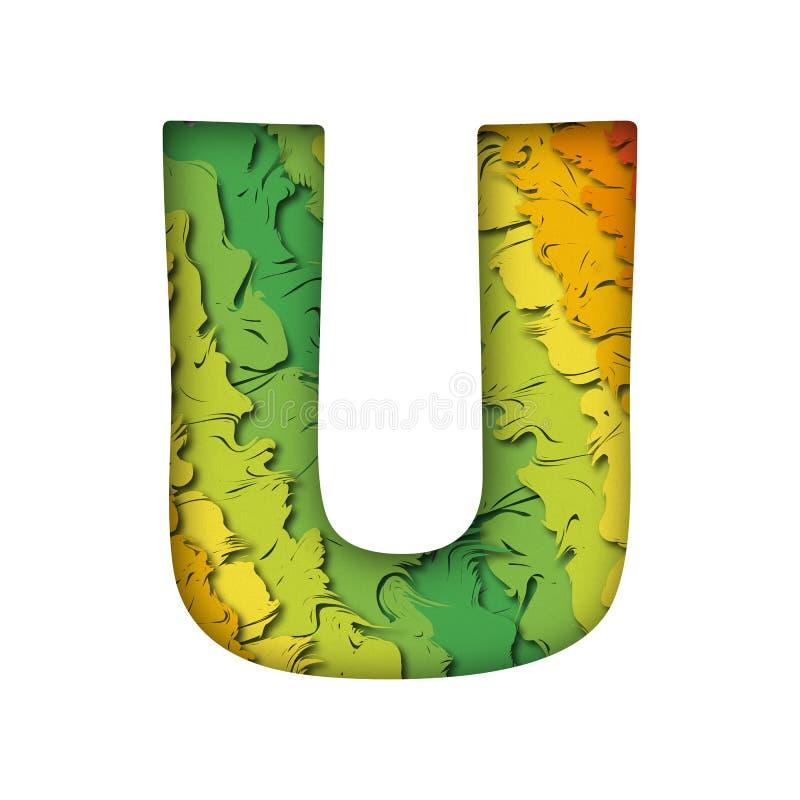 Lettera verde d'avanguardia U del papercut fotografie stock libere da diritti