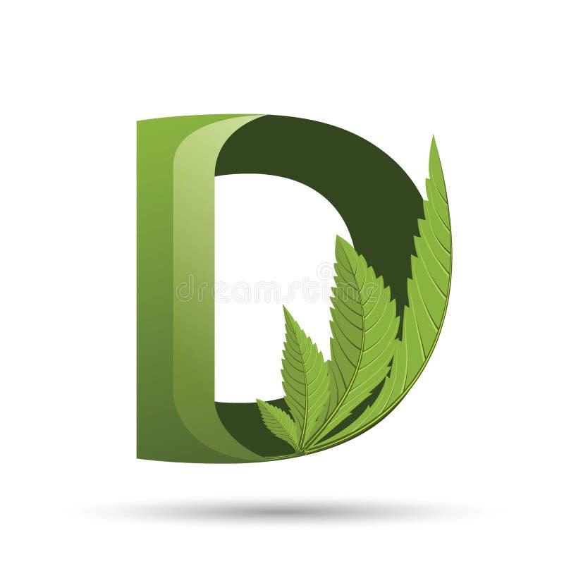 Lettera verde D di logo della foglia della cannabis illustrazione di stock