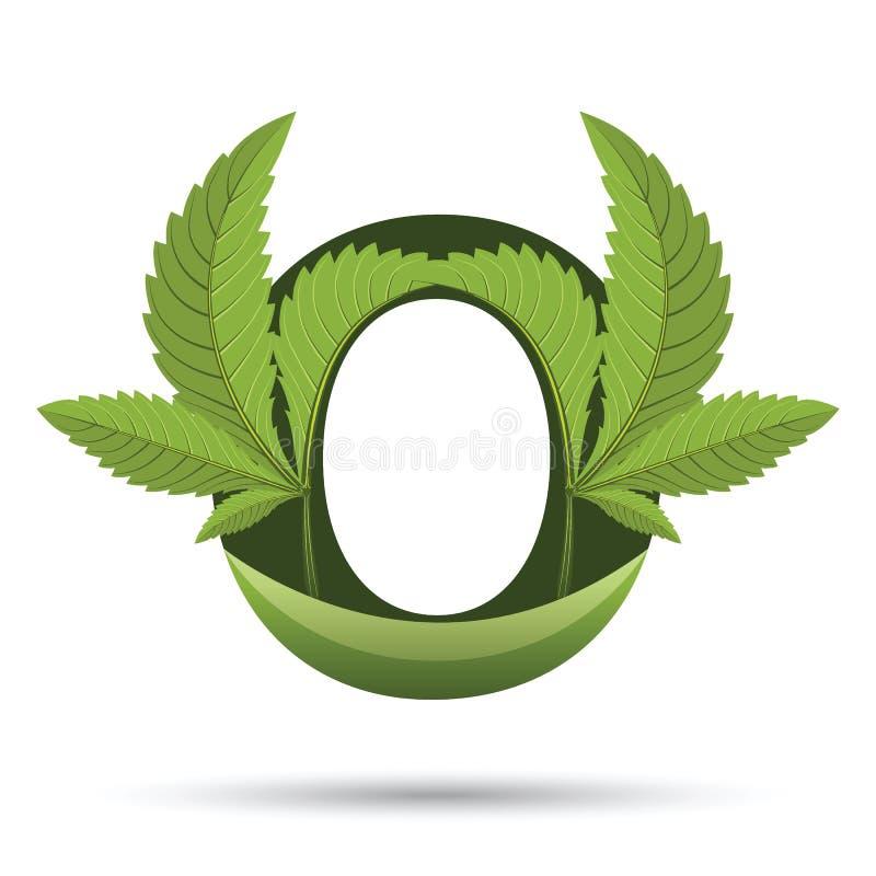 Lettera verde O di logo della foglia della cannabis illustrazione vettoriale