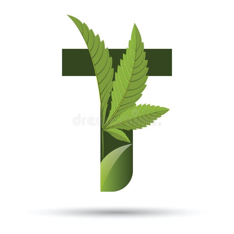 Lettera verde T di logo della foglia della cannabis illustrazione di stock