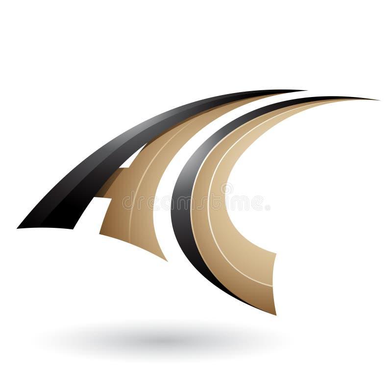 Lettera volante dinamica nera e beige A e C isolati su un fondo bianco illustrazione vettoriale