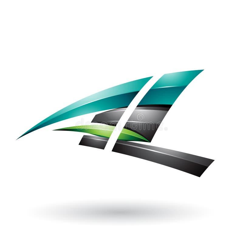 Lettera volante lucida dinamica nera e verde A e L isolati su un fondo bianco illustrazione di stock