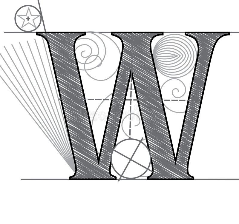 Lettera W illustrazione di stock