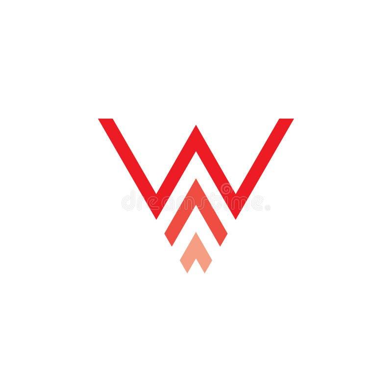 Lettera w con il vettore di logo delle frecce illustrazione vettoriale