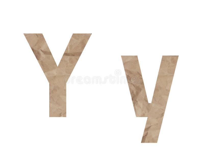 Lettera Y alfabeto caratteri Lettraggio isolato su bianco Effetto testurizzato con carta confezionata sgrossata, ammaccatura per  fotografia stock libera da diritti