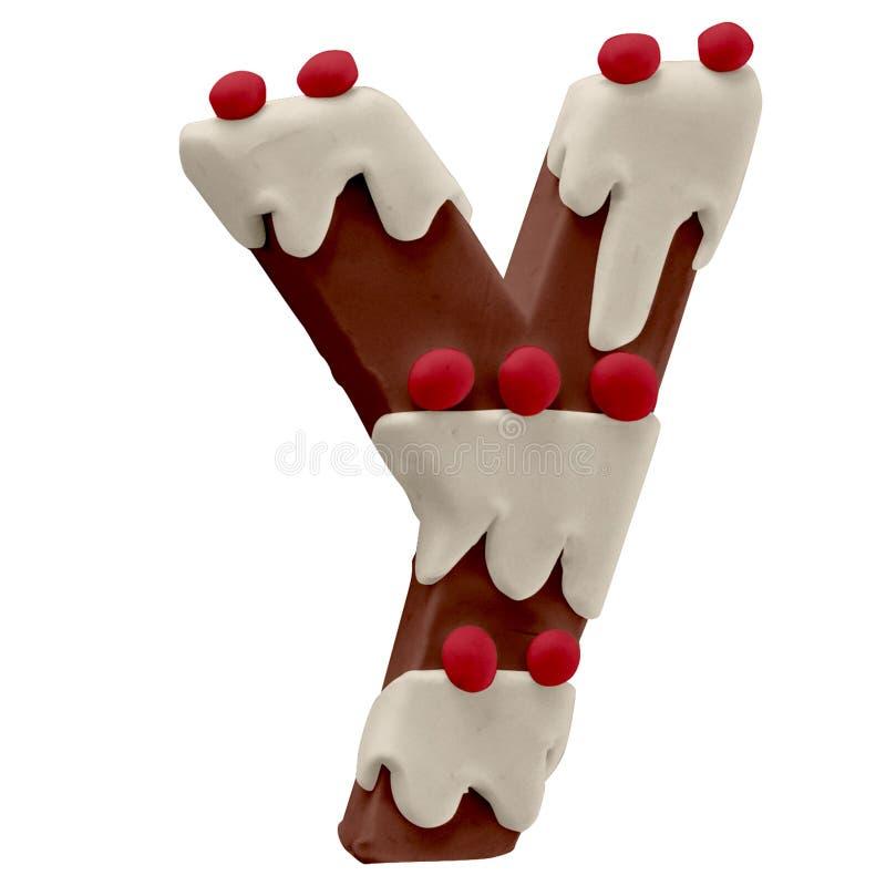 Lettera Y Cake Font Cake Font Fabbricato a mano con plastica illustrazione vettoriale
