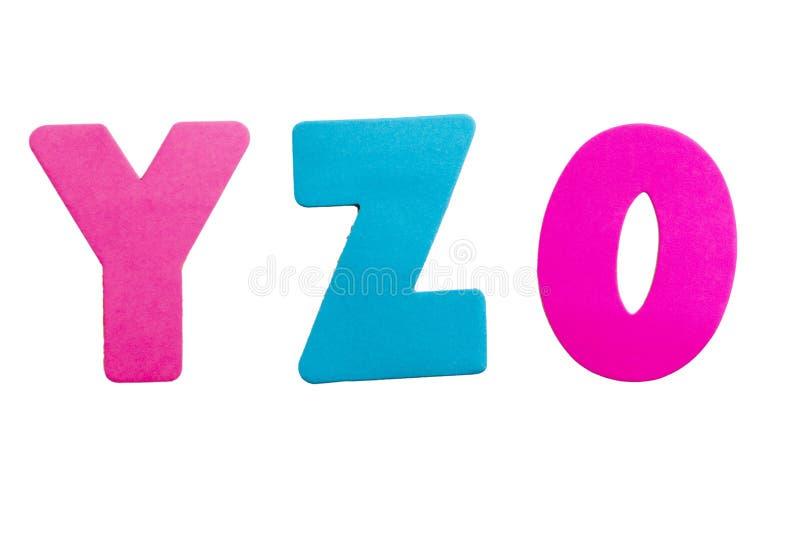 Lettera YZ numero 0 fotografie stock libere da diritti