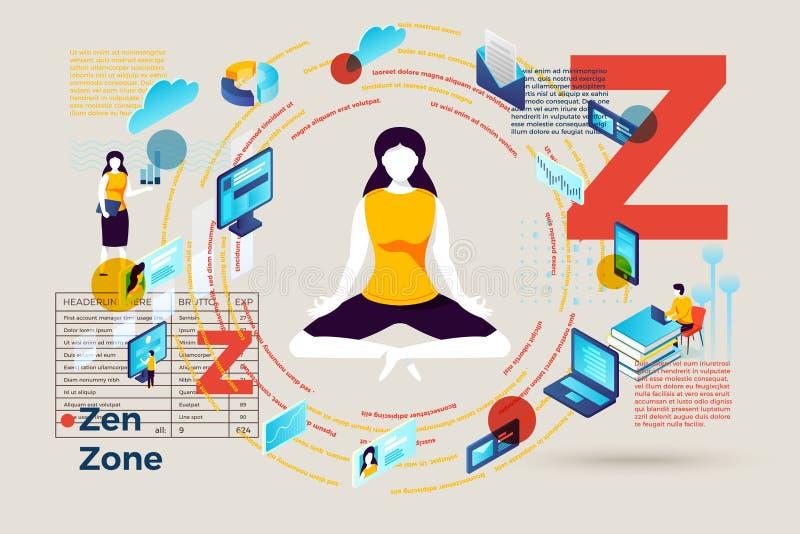 Lettera Z di vettore con la zona di zen per la ragazza sollecitata illustrazione di stock