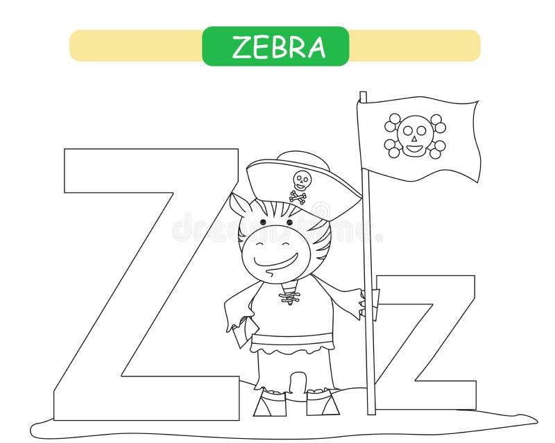 Lettera Z e zebra divertente del fumetto Pagina di coloritura A-z di alfabeto degli animali Alfabeto sveglio dello zoo nel vettor illustrazione di stock