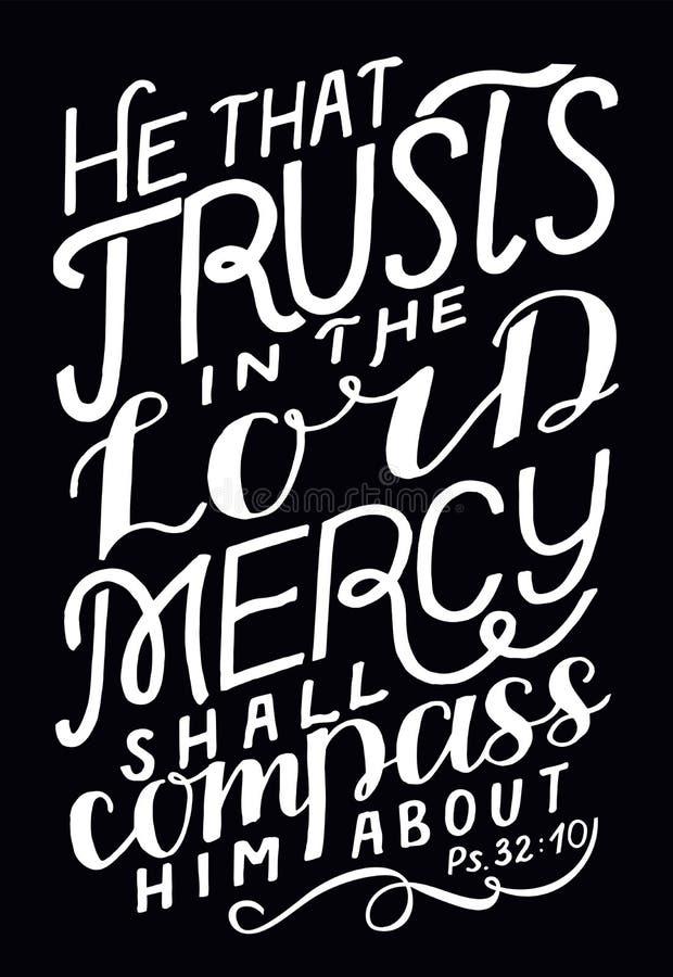 Letteratura a mano colui che si fida del Signore, la misericordia lo racconterà illustrazione vettoriale