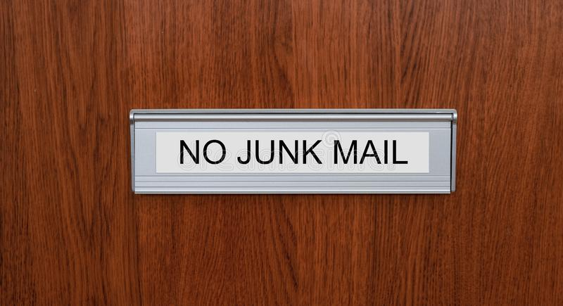A letterbox with the label No junk mail royalty free stock image