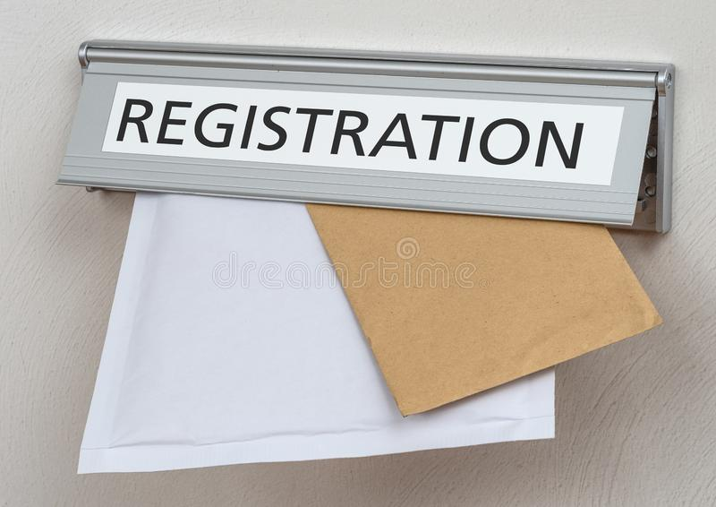 A letterbox with the label Registration royalty free stock images