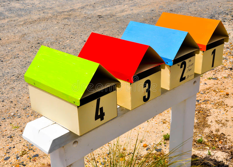 Letterboxes in Color stock images