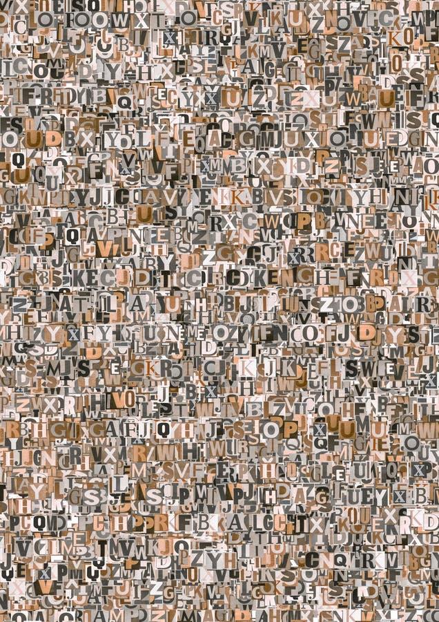 Lettere astratte del giornale fotografie stock