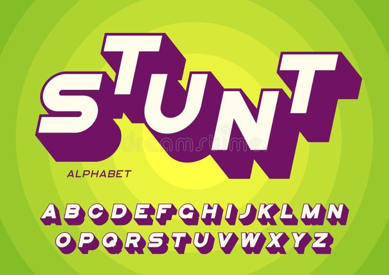 Lettere audaci disegnate di caratteri sans serif con ombra lunga royalty illustrazione gratis