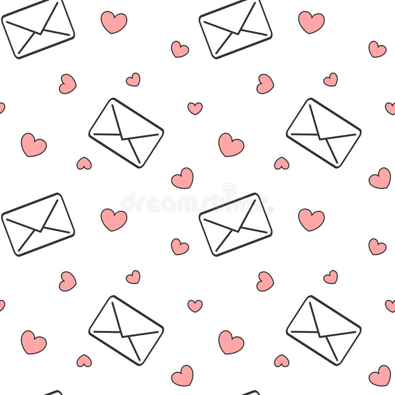 Lettere in bianco e nero della posta di amore con l'illustrazione romantica del fondo del modello senza cuciture rosso dei cuori royalty illustrazione gratis