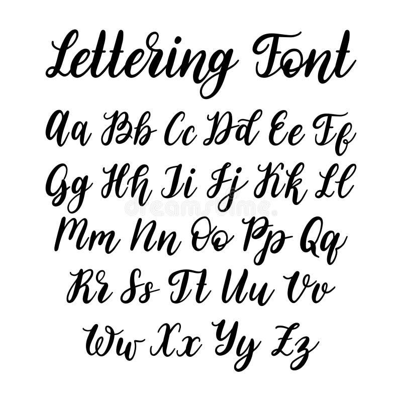 Lettere cirilliche della fonte su fondo bianco Mano di vettore che segna alfabeto con lettere russo Calligrafia dello slavo illustrazione di stock