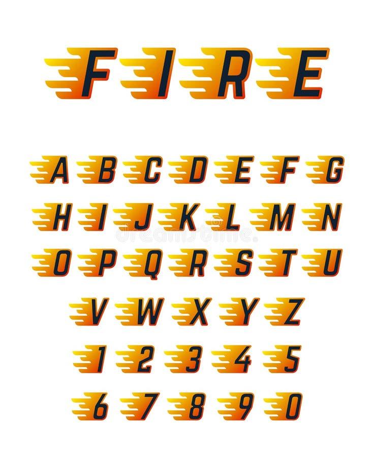 Lettere correnti brucianti con la fiamma Alfabeto caldo della fonte di vettore del fuoco per la vettura da corsa royalty illustrazione gratis