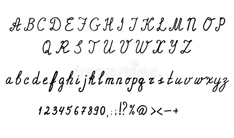 Lettere corsive, numeri e simboli di alfabeto inglese Insieme disegnato a mano royalty illustrazione gratis