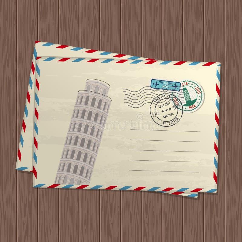 Lettere d'annata di stile di vettore con la torre pendente di Pisa, dei segni e dei bolli dell'Italia e del posto per testo su st royalty illustrazione gratis