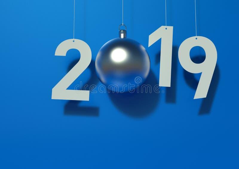 Lettere decorative della carta da 2019 nuovi anni sul blu illustrazione vettoriale