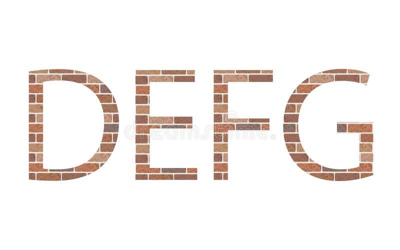 Lettere DEFG in mattoni illustrazione di stock