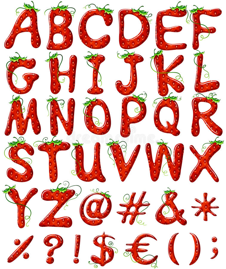 Lettere dell'alfabeto con progettazione della fragola illustrazione di stock