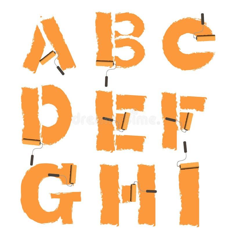 lettere dell'alfabeto dipinto con il rullo di pittura illustrazione di stock