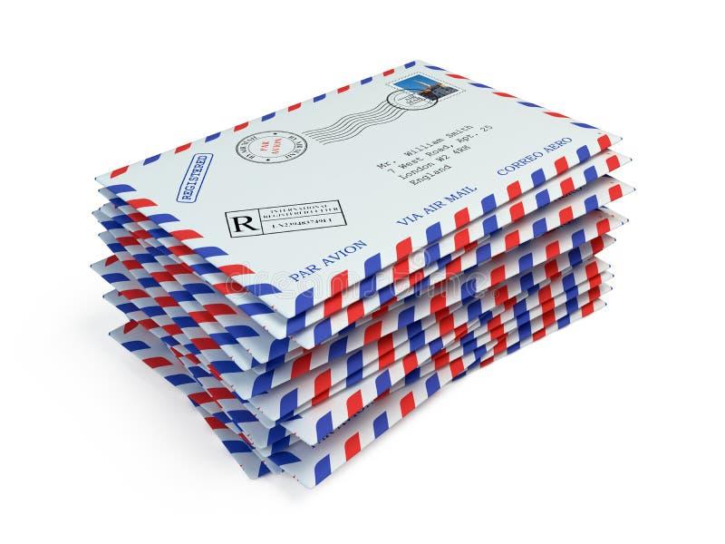 Lettere della posta isolate su bianco illustrazione di stock