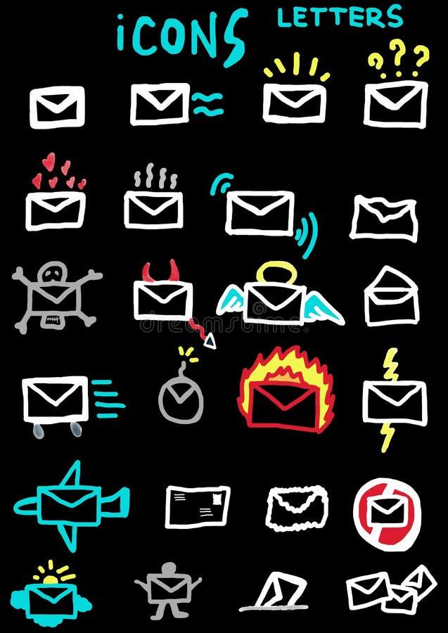 Lettere delle icone colorate royalty illustrazione gratis