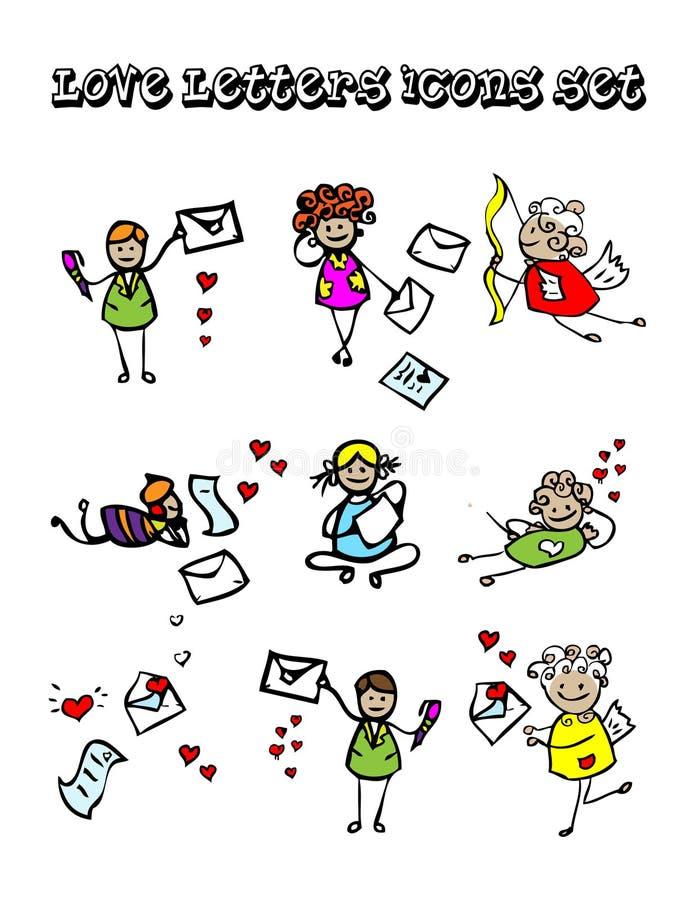 Lettere delle icone di amore impostate royalty illustrazione gratis