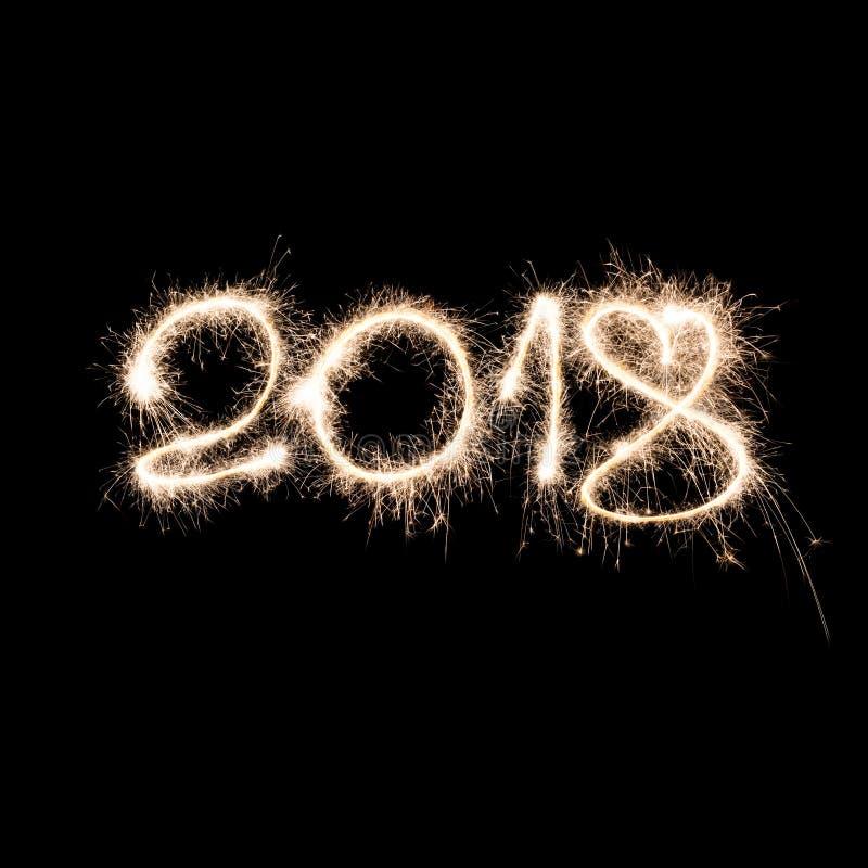 Lettere delle stelle filante del nuovo anno 2018 immagini stock libere da diritti