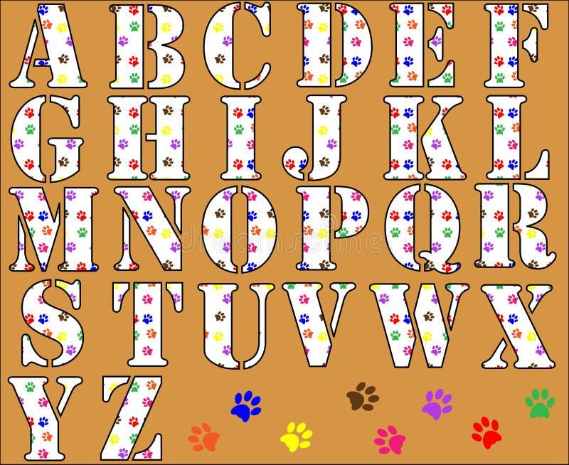 Lettere di alfabeto della stampa della zampa illustrazione di stock