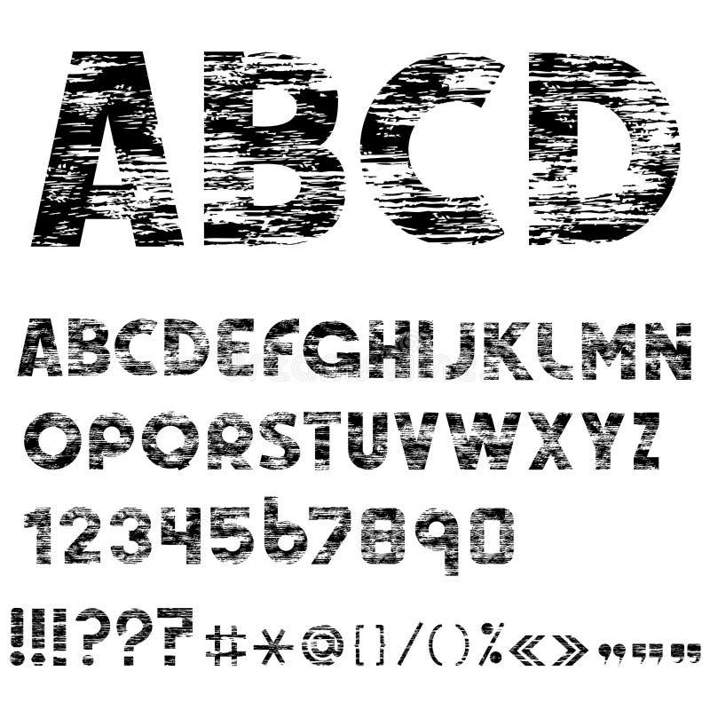 Lettere di alfabeto di Grunge, numeri illustrazione vettoriale
