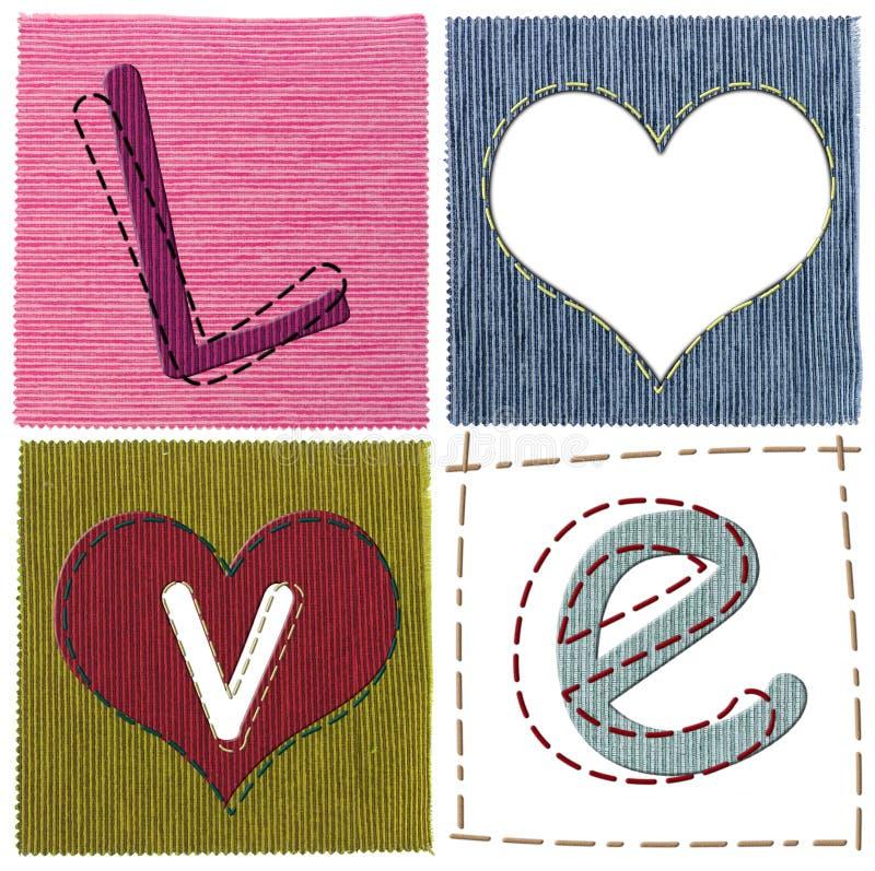 Lettere di amore del tessuto immagine stock
