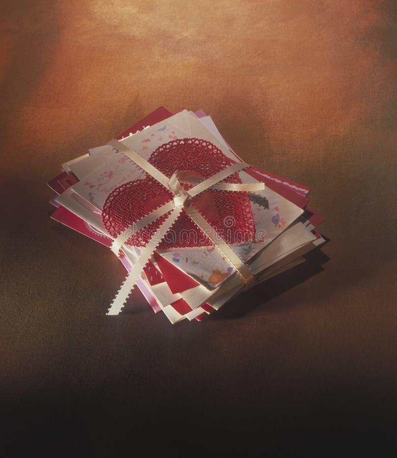 Lettere di amore e cuore del merletto fotografia stock libera da diritti
