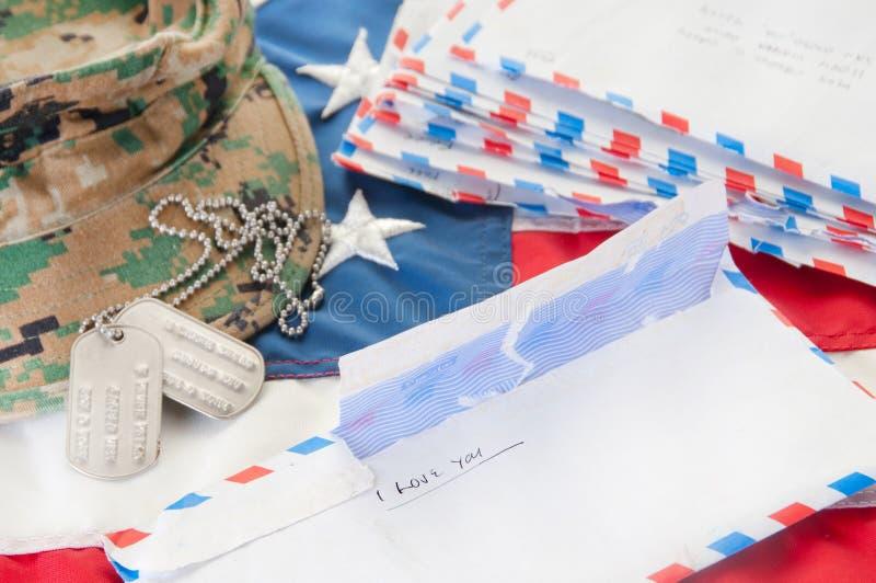 Lettere di amore militari fotografie stock libere da diritti