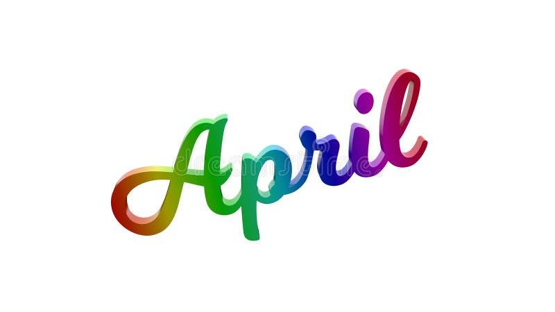 Lettere di April Month Calligraphic Text Title 3D colorate con la pendenza dell'arcobaleno di RGB illustrazione vettoriale