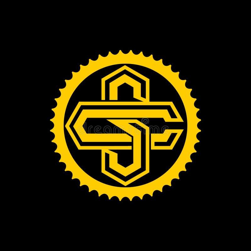 Lettere di C e di S con il modello di logo di vettore dell'ingranaggio della bicicletta illustrazione vettoriale