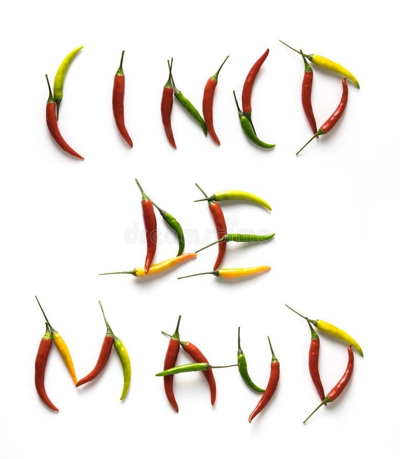 Lettere di Cinco De Mayo piccoli dai peperoncini caldi rossi, verdi e gialli isolati sui precedenti bianchi immagine stock libera da diritti