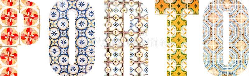 Lettere di Oporto riempite di mattonelle portoghesi fotografia stock